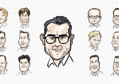 """Karikaturen 30 Personen """"Projektbeteiligte IC-Consulten"""""""